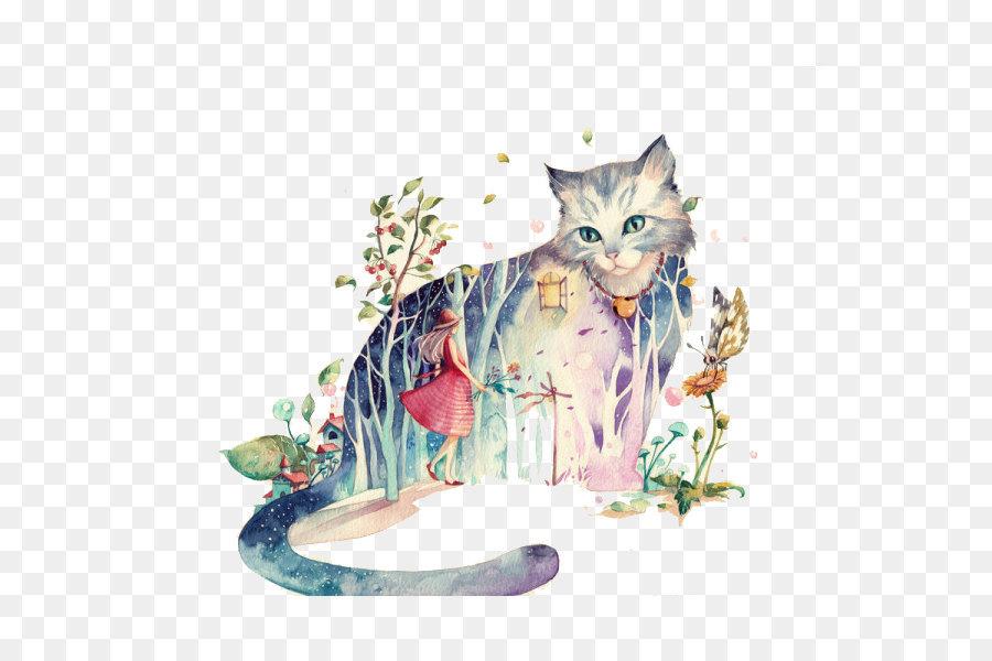 Descarga gratuita de Los Gatos, Ilustrador, Pintura Imágen de Png