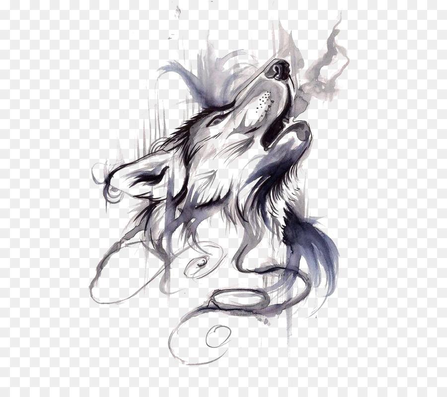 Descarga gratuita de Lobo Gris, Tatuaje, Flash imágenes PNG