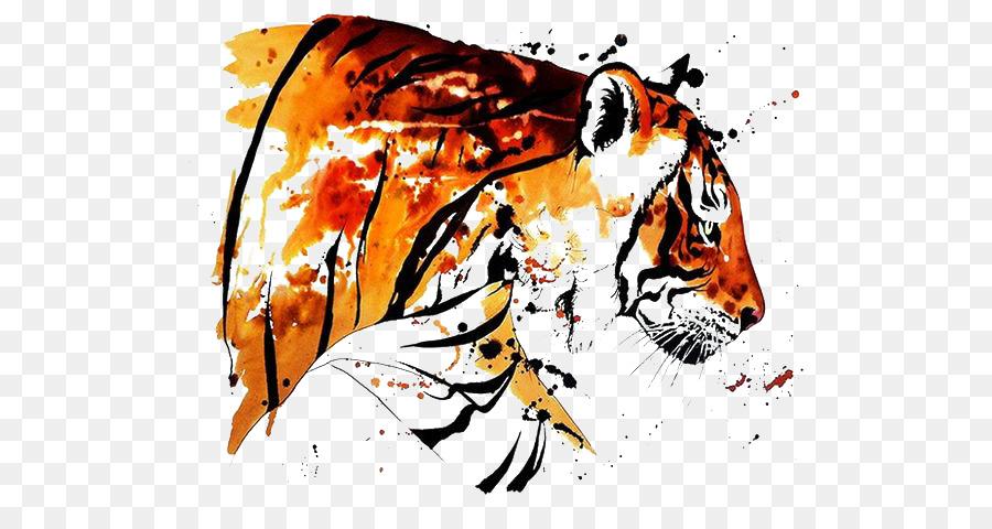 Descarga gratuita de Tigre De Bengala, Pintura A La Acuarela, Tatuaje Imágen de Png