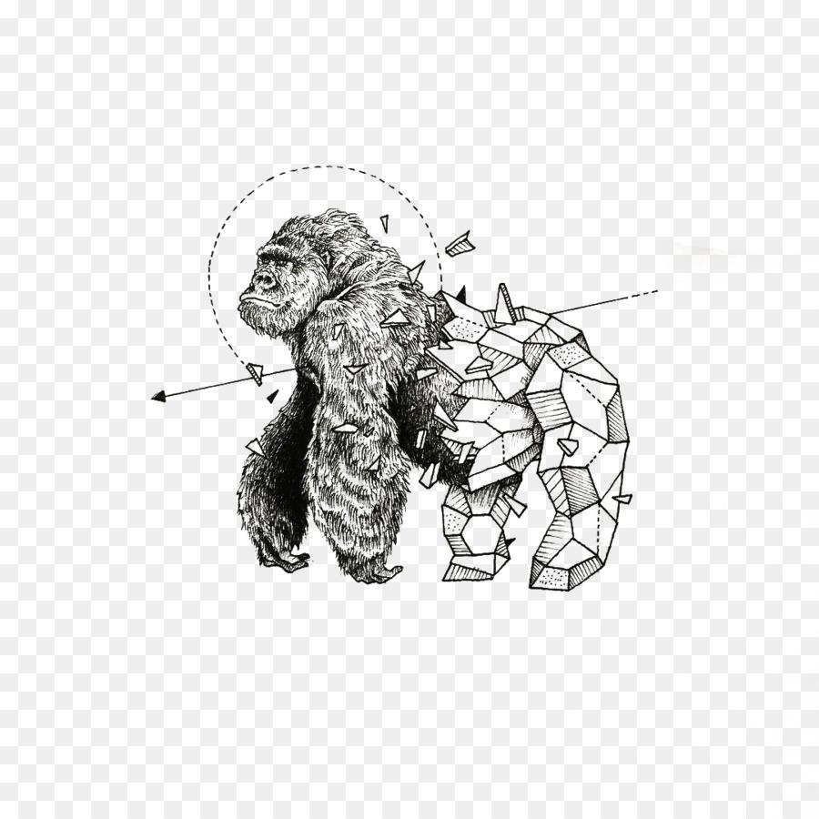 3 Monos Sabios Tatuajes la geometría, dibujo, illustrator imagen png - imagen