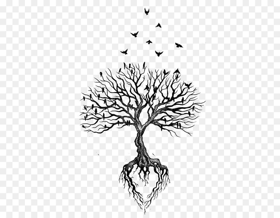 La Raíz Del árbol De Tatuajes De Aves Corazón Secó En Línea Recta
