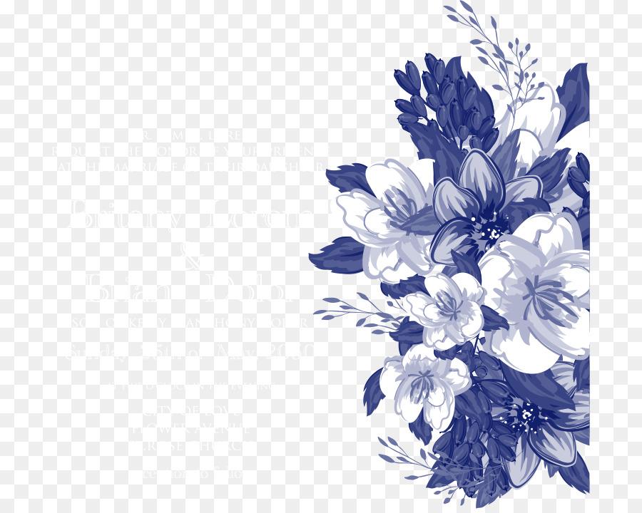 Descarga gratuita de Invitación De La Boda, Diseño Floral, Azul Imágen de Png