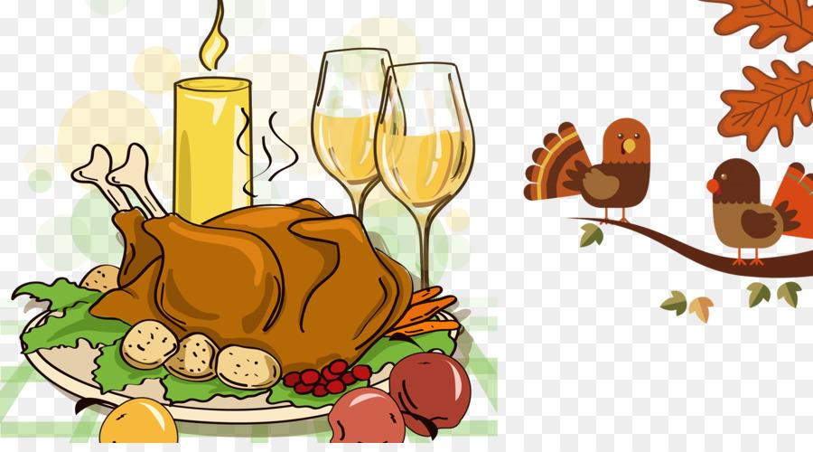 La Carne De Pavo De Acción De Gracias De La Cena De Dibujos Animados