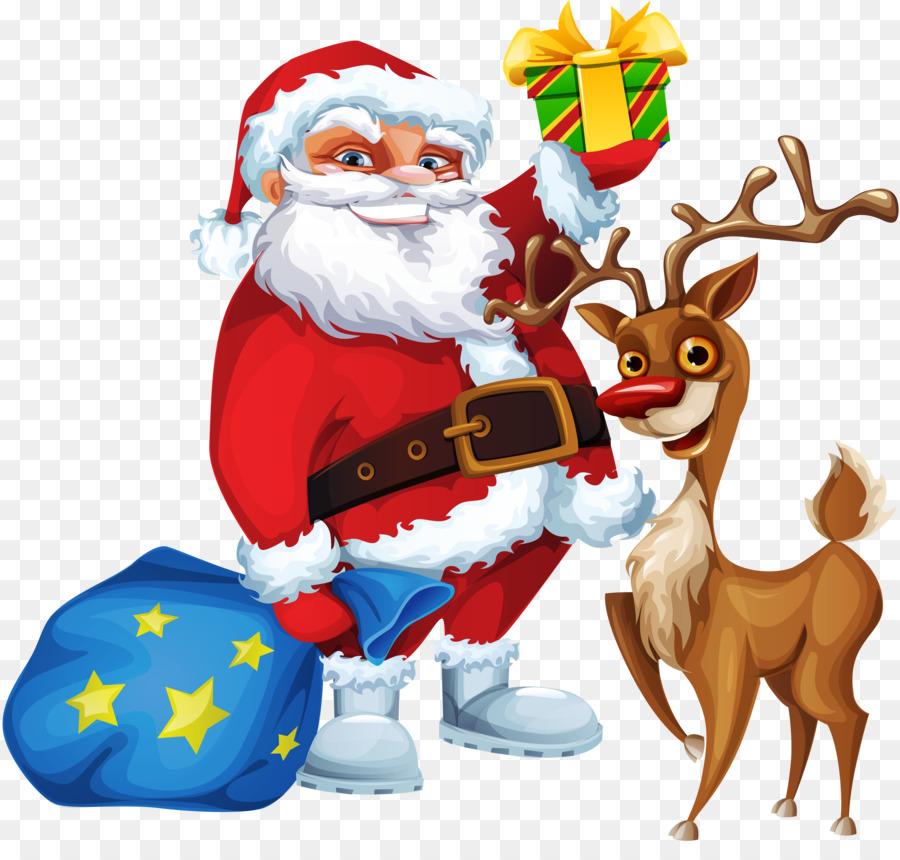 Descarga gratuita de Rudolph, Santa Claus, Reno imágenes PNG