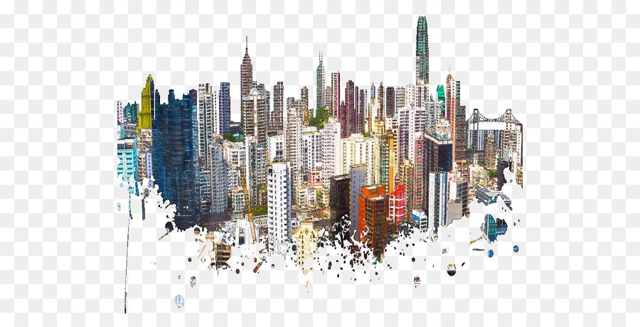 Descarga gratuita de Hong Kong, Skyline, Pintura A La Acuarela Imágen de Png