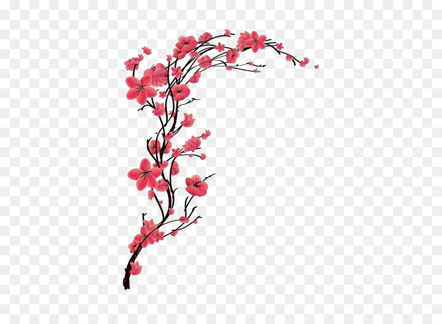 Tatuaje Flor De Cerezo Rojo Melocotón