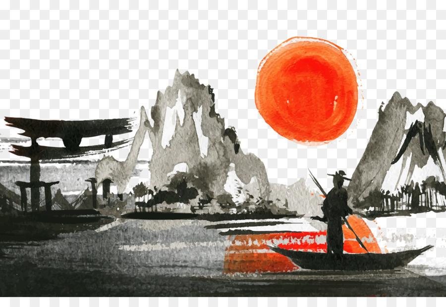 Descarga gratuita de El Paisaje De Japón, Puesta De Sol, Pintura A La Acuarela imágenes PNG