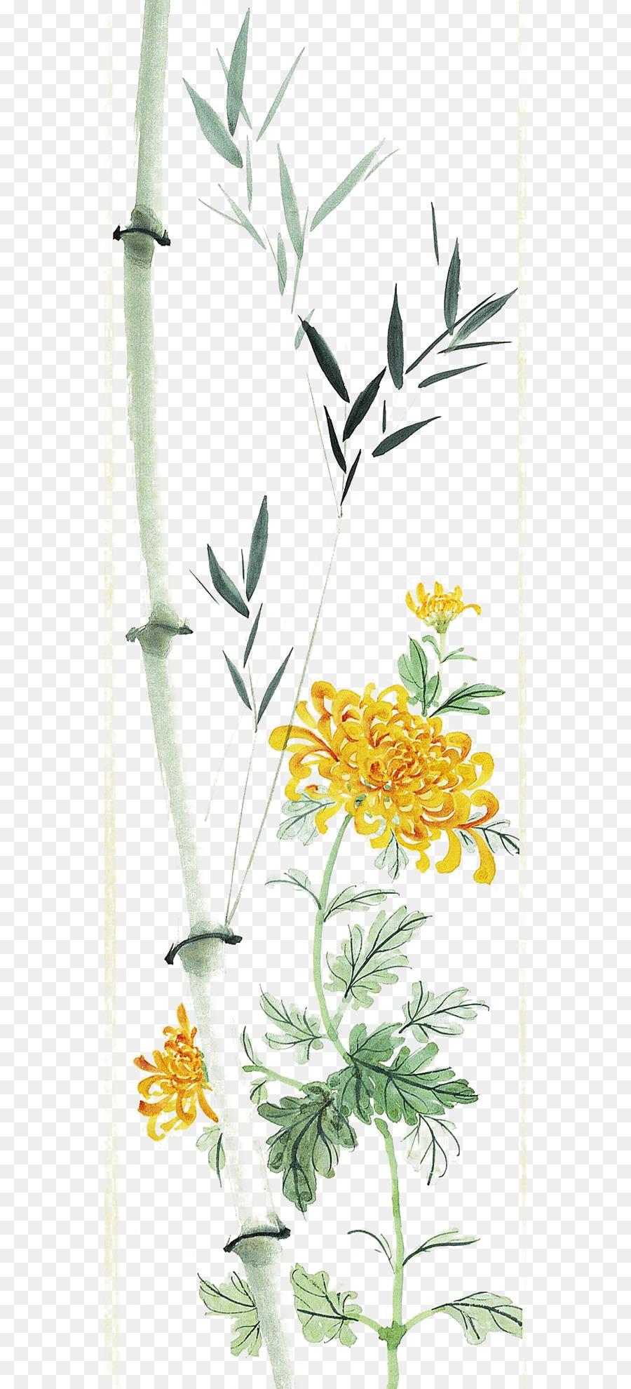 Descarga gratuita de Crisantemo, Bambú, La Pintura China Imágen de Png
