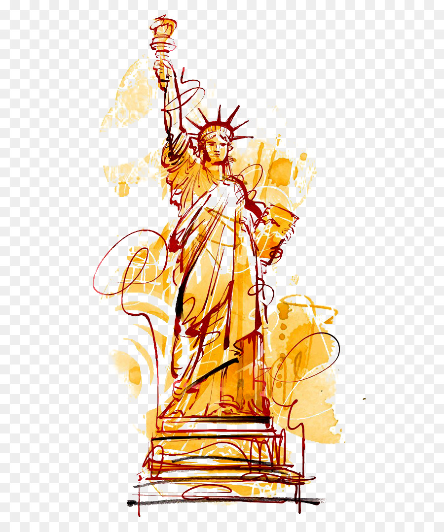 Descarga gratuita de Estatua De La Libertad, De Dibujos Animados, Pintura A La Acuarela imágenes PNG