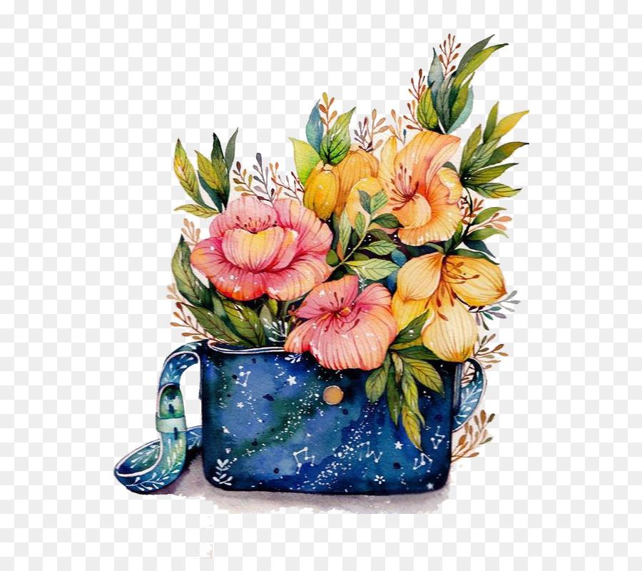 Descarga gratuita de Diseño Floral, Pintura A La Acuarela, Florero Imágen de Png