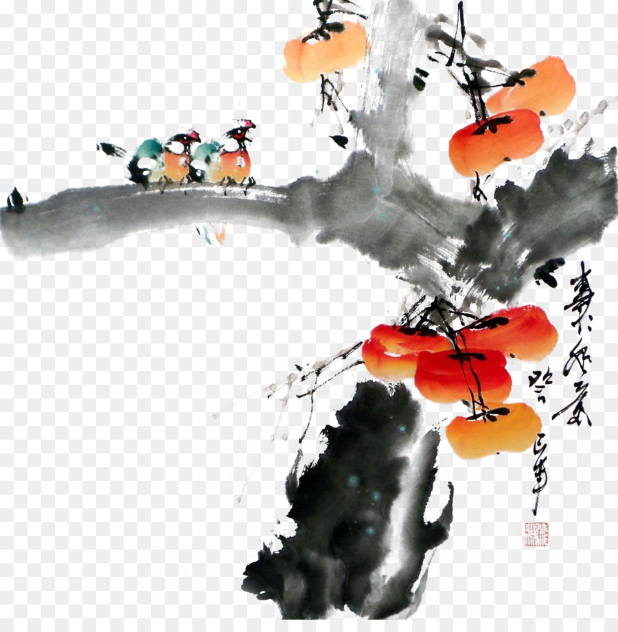 Descarga gratuita de Japonés Caqui, Caqui, Tinta De Lavado De Pintura imágenes PNG