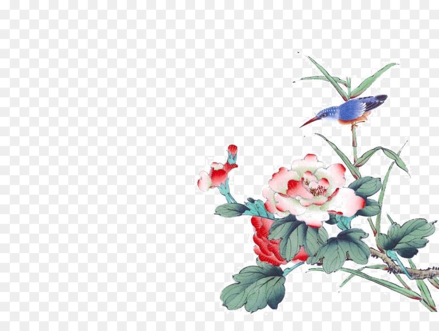 Descarga gratuita de La Pintura China, Pintura, Birdandflower Pintura imágenes PNG