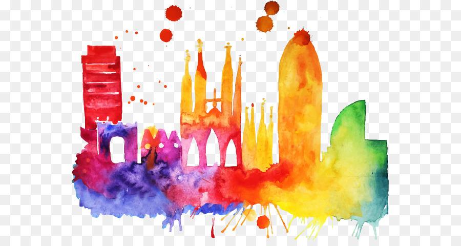 Descarga gratuita de Barcelona Skyline, Skyline, Pintura imágenes PNG