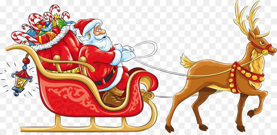 Descarga gratuita de Santa Claus, Reno, Trineo Imágen de Png