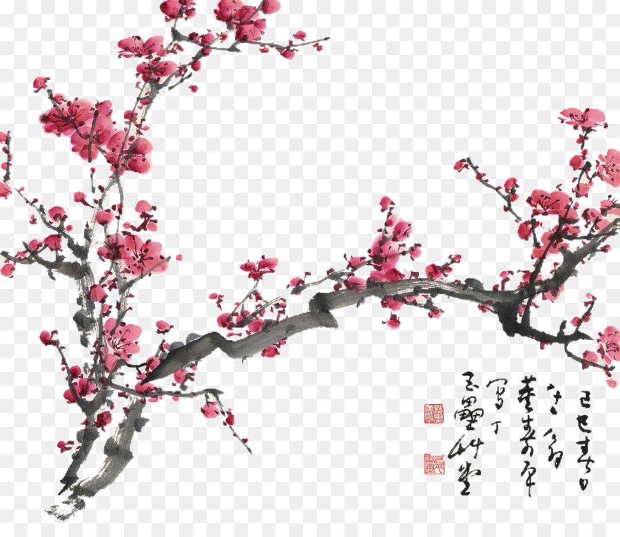 Descarga gratuita de La Flor Del Ciruelo, La Pintura China, Flor Imágen de Png