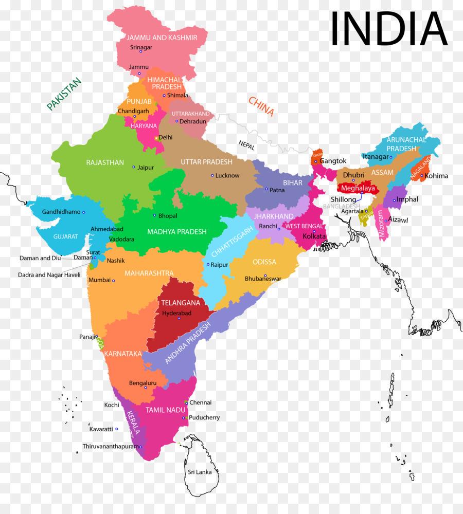 Descarga gratuita de La India, Los Estados Y Territorios De La India, Mapa Imágen de Png