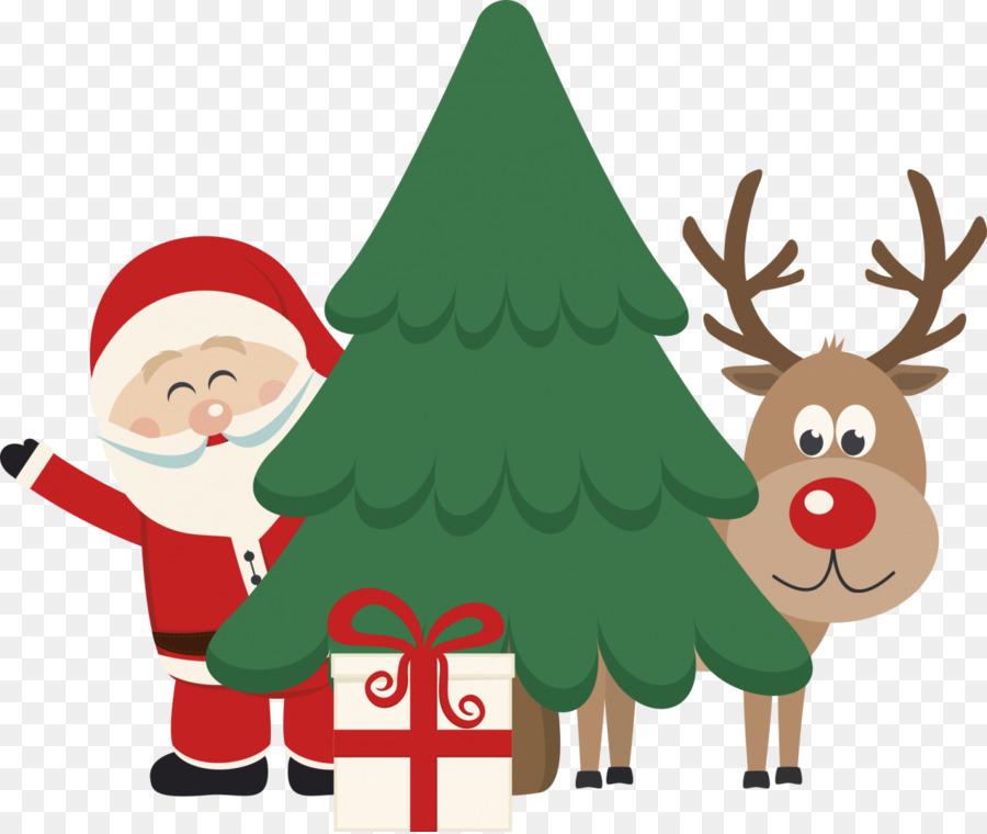 Descarga gratuita de Santa Claus, Rudolph, árbol De Navidad Imágen de Png