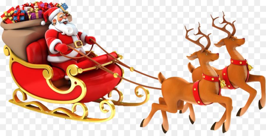Descarga gratuita de Santa Claus, Rudolph, Trineo Imágen de Png