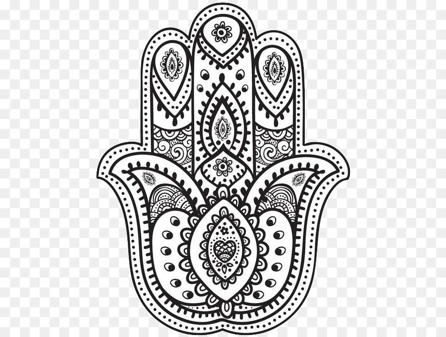 Hamsa Mandala libro para Colorear, Dibujo de - hamsa mano