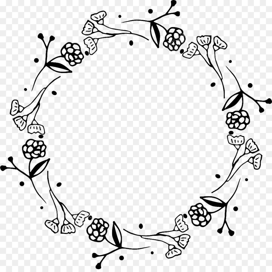Corona De Flores En Blanco Y Negro En Blanco Y Negro De La Flor Flor
